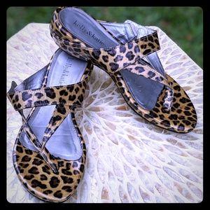 Kelly & Katie KKAVERT Leopard Wedge Thong Sandal